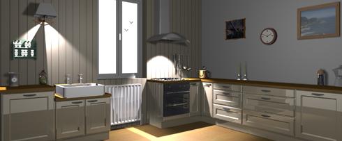 Plan d'une cuisine avec logiciel 3D